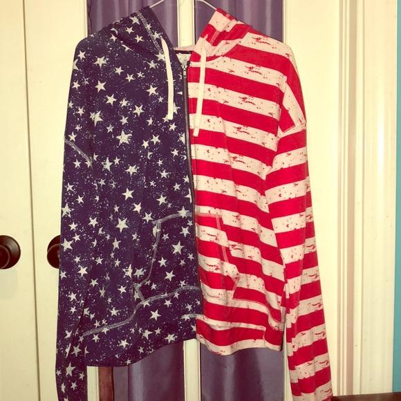 American flag zip up hoodie drawstring jacket XL